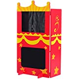 "Qaba 35"" Kids Arts and Crafts Puppet Theater Playset with Chalkboard"