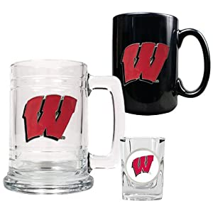 Wisconsin Badgers NCAA 15oz Tankard, 15oz Ceramic Mug & 2oz Shot Glass Set -... by Great American Products