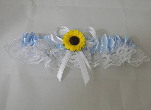 Wedding party ceremony Yellow Sunflower Satin and Lace Blue Toss Garter