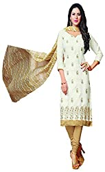 Go Traditional Women's Jacquard Unstitched Dress Material (White)