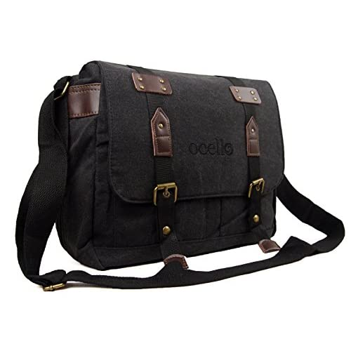 Mens Womens Boys Girls Ocello Canvas School College Work Satchel Messenger Shoulder Bag (Black Green)