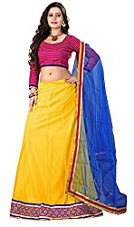 Khoobee Presents Women's Multi Embroidered Stitched Lahenga With Unstitched Blouse Piece.(Yellow)