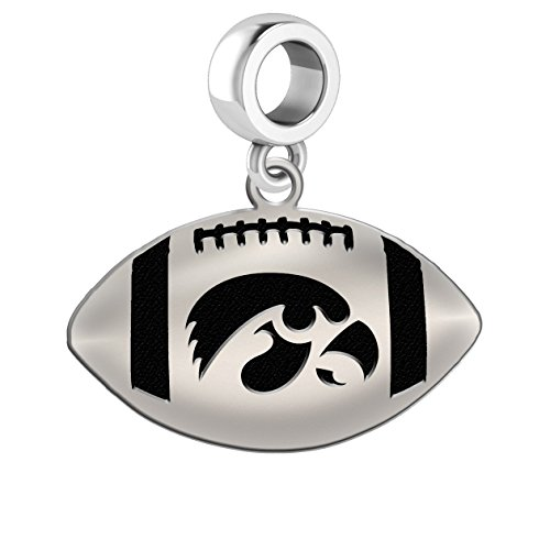 Iowa Hawkeyes Sterling Silver Football Cut Out Drop Charm Fits All European Style Charm Bracelets