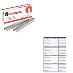 KITHOD3961UNV79000 - Value Kit - House Of Doolittle Poster Style Reversible/Erasable Yearly Wall Calendar (HOD3961) and Universal Standard Chisel Point 210 Strip Count Staples (UNV79000)