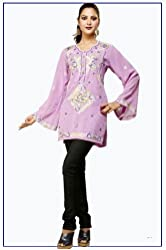 Ladies Top Kurtis Embroidered Dress Fashion with Full Sleeve