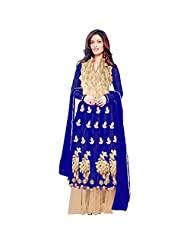 Deep Blue Net Designer Party Wear Anarkali Suit Semi Stitched