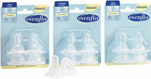 Evenflo Classic Clear Fast Flow Baby Feeding Bottle Silicone Nipples, Model: 2114914 - 4/Pack