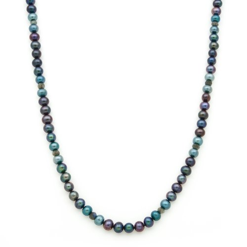 7-8mm Blue and Black Freshwater Pearl Necklace with Faceted Labradorite Rondels in Sterling Silver in Gift Box