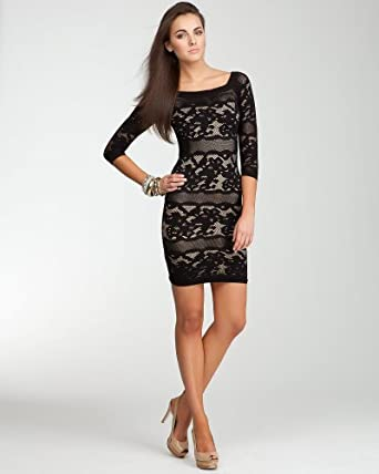 BB Off Shoulder Lace Stripe Dress -Web Exclusive Tubular Black/nude-m/l