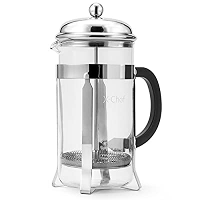 French Press, X-Chef 1000ml Heat Resistant Glass Coffee Press Tea Maker Pot with Stainless Steel Holder, Cozy & Funny for Coffee Lovers - 8 Cup/4 Mug (1 Liter, 34 oz), Chrome