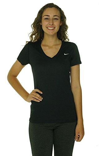 Womens Nike Regular Legend SS V-Neck T-Shirt Black/Cool Grey/White Size Small