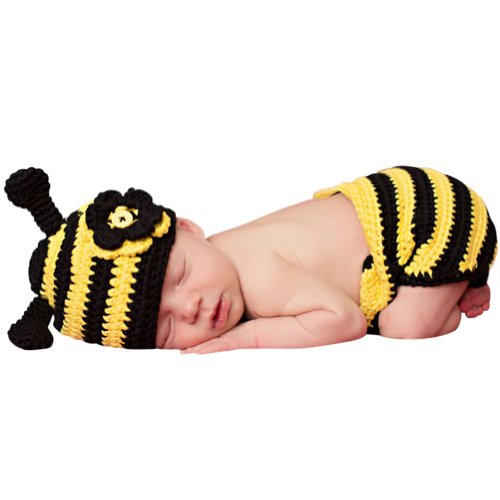 Melondipity Bumble Bee Baby Hat & Diaper Cover Set for Newborns - Yellow / Black