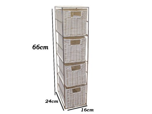 Woodluv Brand New 4 Drawer White Resin Tower Storage Unit Home/Office/Bedroom/Bathroom