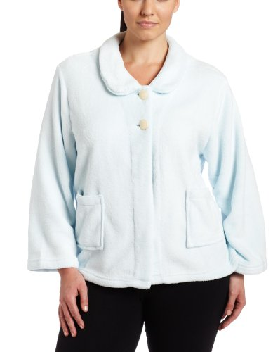 41IIsneTLqL Casual Moments Womens Plus Size Bed Jacket With Peter Pan Collar, Light Blue, 1X HOT OFFER