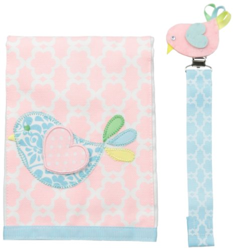 Mud Pie Baby-Girls Newborn Chick Burp And Pacy Clip Set, Pink/Blue, One Size