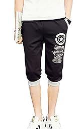 Men\'s Casual Harem Baggy Hiphop Shorts Capris Jogger Sports Trousers(Black,Tag L)