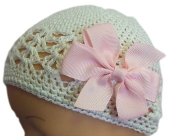 """3"""" Simple Bow Crochet Baby Hat (Newborn - 9 Months, White Hat/Pink Bow)"""