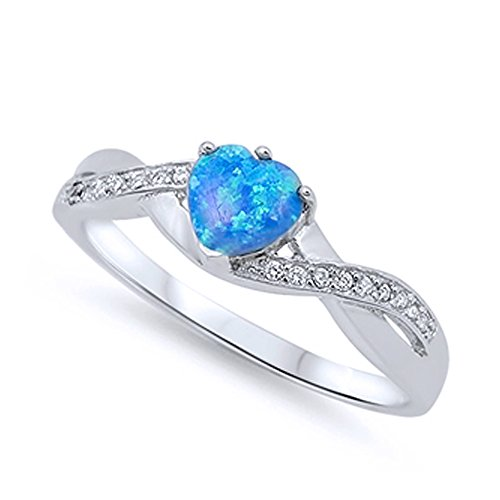 Sterling Silver Blue Simulated Opal Heart Promise Ring 6MM ( Size 4 to 12 ), 9