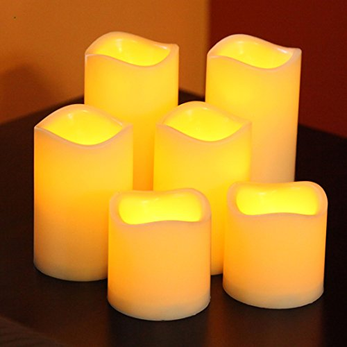 Lily's Home SW421 Flameless Battery Operated LED Votive Candles with Timer, Set of 6 (White Led Fireplace compare prices)