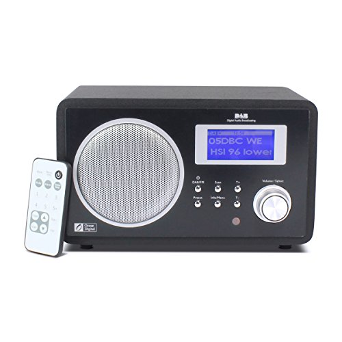 Ocean Digital DAB/DAB+/FM Radio Wooden Desktop Music Player Speaker With Alarm Clock Big Display- Black