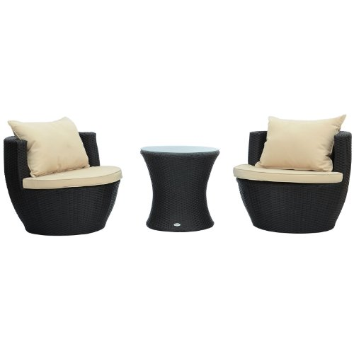 Outsunny 3-Piece Outdoor Stacking Rattan Wicker Patio Chair Set photo