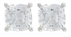 Platinum Plated Sterling Silver Cushion-Cut Cubic Zirconia Studs (2 cttw)