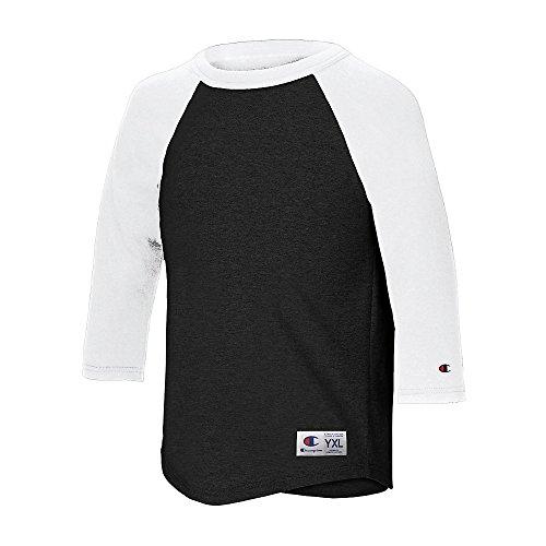 Champion 78715139896 T13Y Youth Raglan Baseball T Shirt, Black & White - Medium (Baseball Tee Champion compare prices)