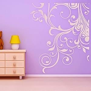 DeStudio Floral Corner Decoration Wall Decal, Size SMALL, Color WHITE