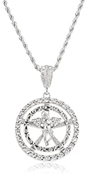 Silvertone Iced Out Cherub Angel Within Round Pattern Pendant 5mm 30 Inch Rope Chain Necklace