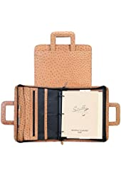 Scully Accessories Black Ostrich Leather Drop Handle 3 Ring Binder