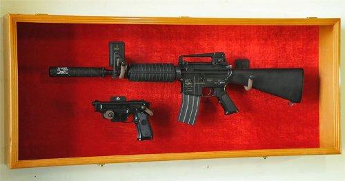 Guns: Rifle Handgun Display Case Wall Rack Cabinet w/ UV Protection -Lockable, Oak (Hand Gun Display Case compare prices)