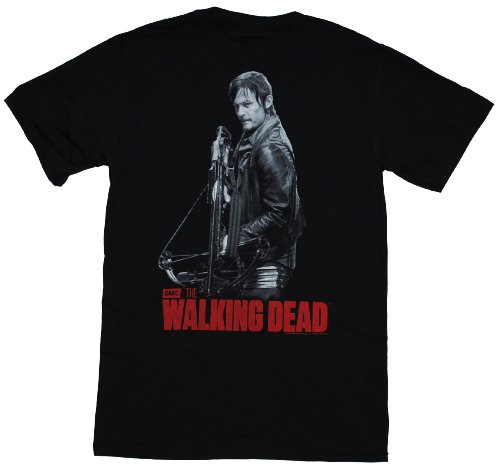 The Walking Dead Daryl With Crossbow Pocket Design 2 Sided Adult T-shirt 2XL
