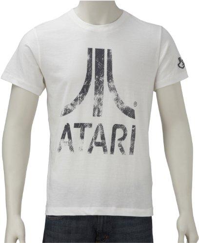 Joystick Junkies Mens T-Shirt Atari Coloured Distressed Pristine White Atd-Whsmxx Small