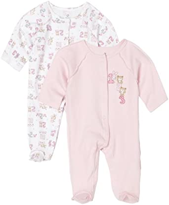 Absorba Baby 2-Piece Footed Sleeper Set, Pink/White, 6-9 Months