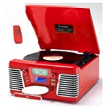 Retro Nostalgic Steepletone Roxy 3 CD Encode USB Red 60's style CD + Record Deck Turntable + Radio + MP3 RECORDING via USB Port & SD Memory Card Slot