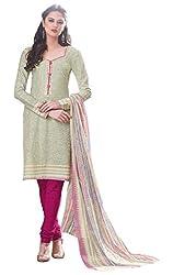 PADMiNi Ethnicwear Women's Dress Material Off-White Free Size