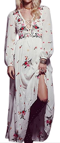 R.Vivimos® Women Cotton Long Sleeve Deep V Neck Long Dresses Large
