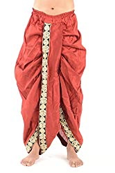 Silk Route Kashi Poly Cotton Red Dhoti