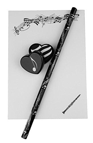 Notizblock-mit-Bleistift-und-Radiergummi-Klarinette-Schnes-Geschenk-fr-Musiker