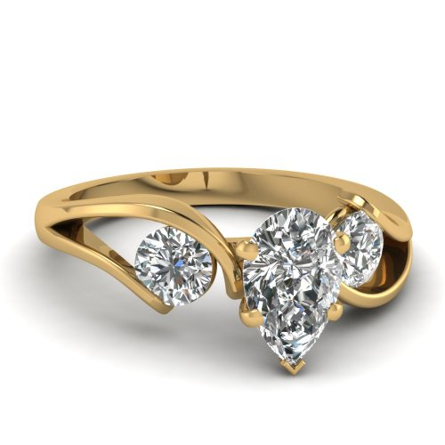 Fascinating Diamonds 1.2 Ct Pear Shaped & Round Diamond Trinity Engagement Ring D-Color 14K Gia
