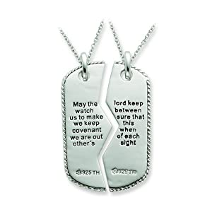 Sterling Silver Antiqued Military Dog Tag For Two 18in Necklaces by Sentimental Expression