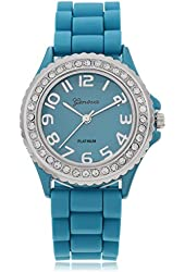 Geneva Platinum CZ Accented Silicon Blue Waist Watch, Large Face