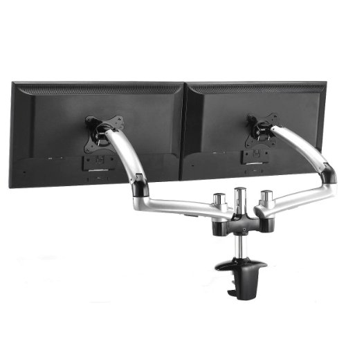Expandable Dual Desk Mount Spring Arm (Silver-Clamp)