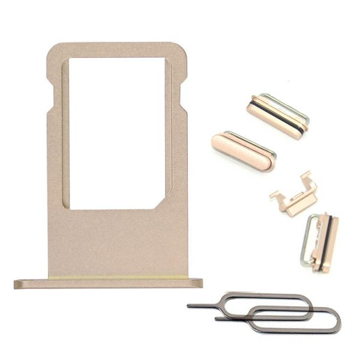 Original New Side Buttons Set Replacement Part for iPhone 6S 4.7IN SIM Card Tray + Volume Key + Mute Silent Switch + Power Button (Gold)
