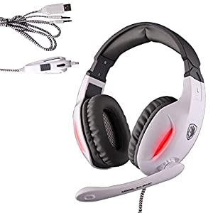 Sades Gaming Headset 3.5mm Wired Stereo Headphone Headband LED Light Over-Ear Noise Cancelling Headphones with Microphone Volume Control for PC Computer (white?