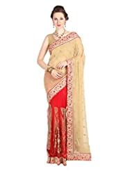 Mina Bazaar Georgette And Net Saree With Blouse Piece - B00NSCO5XU
