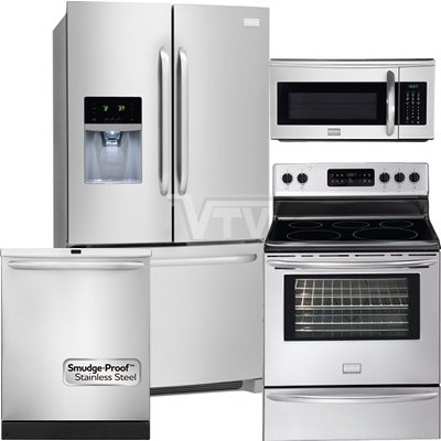 Frigidaire Professional Appliance Package with French Door Refrigerator, Professional Convection Range, Integrated Professional Dishwasher and Over-the-Range Microwave (FPHB2899PF, FPEF3081MF, FPHD2491KF, FPBM189KF) PKG #LDP1
