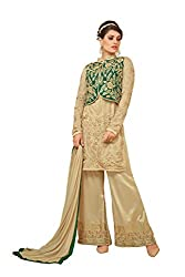 YOUR CHOICE Georgette Beige Embroideried Women's Straight Suit HTS1004