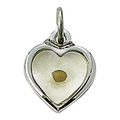 Sterling Silver Heart Necklace  Centered Mustard