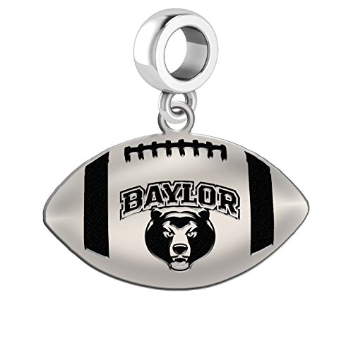 Baylor Bears Sterling Silver Football Cut Out Drop Charm Fits All European Style Charm Bracelets
